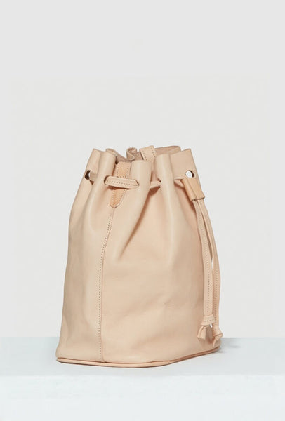 Beige leather bucket bag