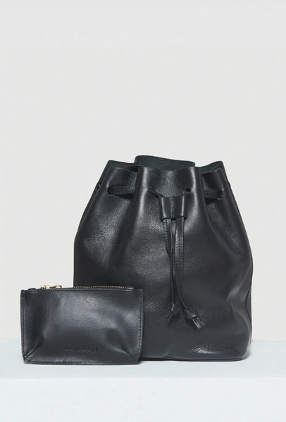 Black leather bucket bag with purse