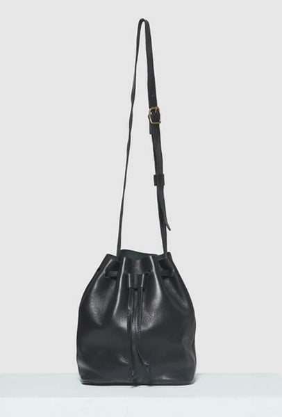 Black leather bucket bag with strap
