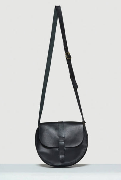 Black Crossbody bag in leather with strap