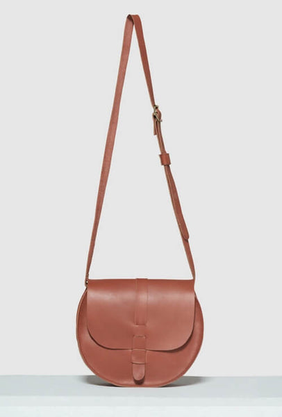 Brown Crossbody bag in leather with strap