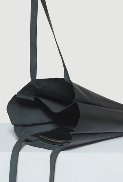 Open leather tote bag black
