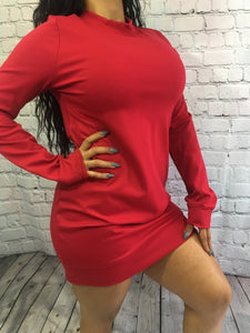 Gia Sweater Dress- Red