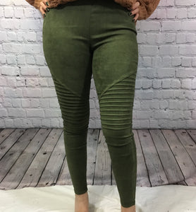 Everly Suede Joggers-Olive