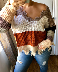 Janessa Distressed Sweater- Mocha