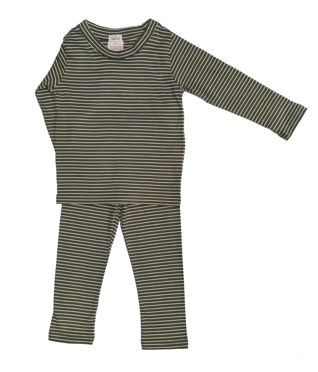 Organic Cotton Pajamas Set - Green Stripe