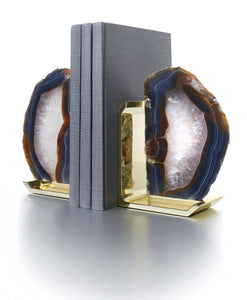 Anna by RabLabs bookend NATURAL AGATE BRASS BOOKEND