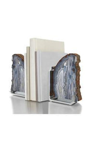 Anna by RabLabs bookend NATURALl/AGATE SILVER BOOKEND