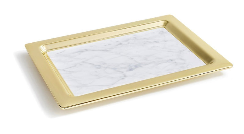 Anna by RabLabs Serving Tray Gold Rectangle Marble Trays