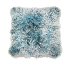 Aviva Pillow MONGOLIAN IN DOUBLE DIPPED CREME BLUE