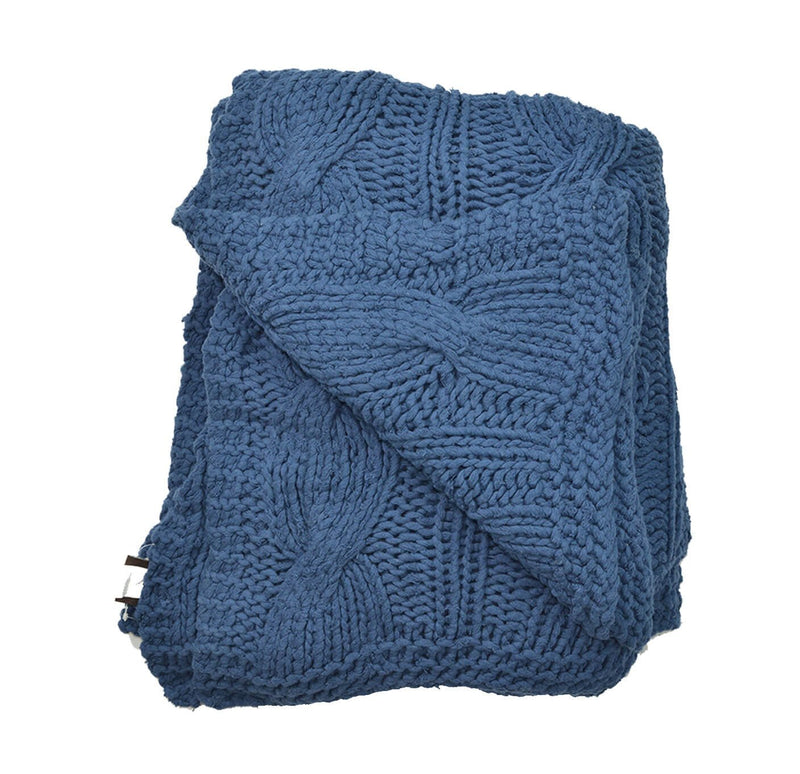 Aviva Throws & Blankets COTTON CABLE KNIT DENIM THROW