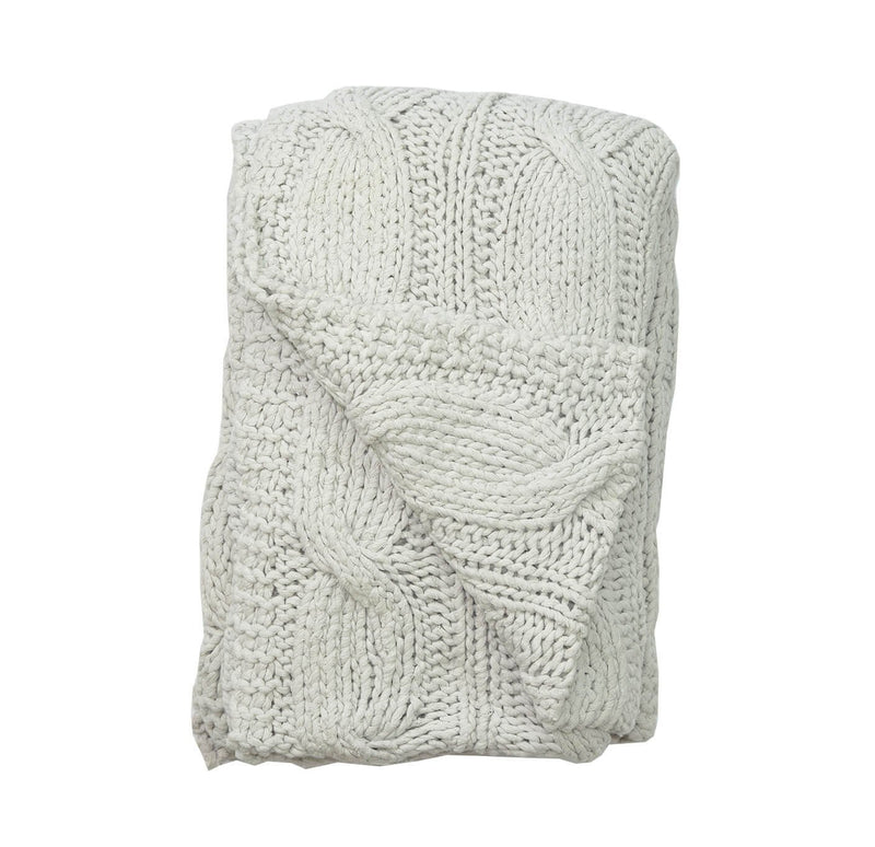 Aviva Throws & Blankets COTTON CABLE KNIT NATURAL THROW