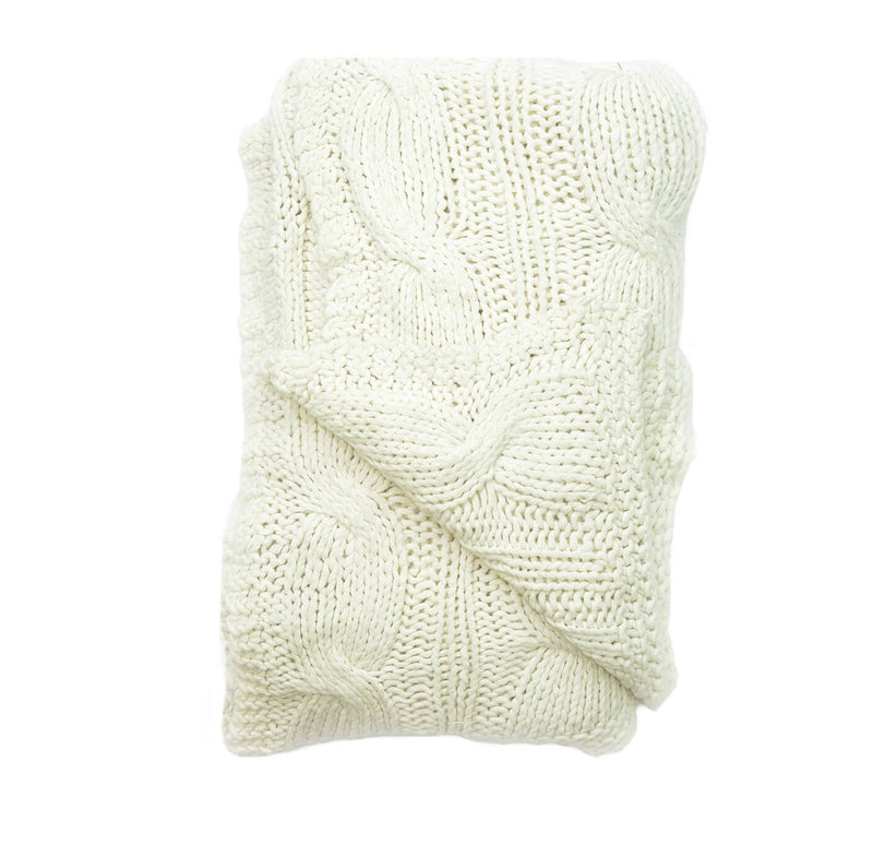 Aviva Throws & Blankets COTTON CABLE KNIT WHITE THROW