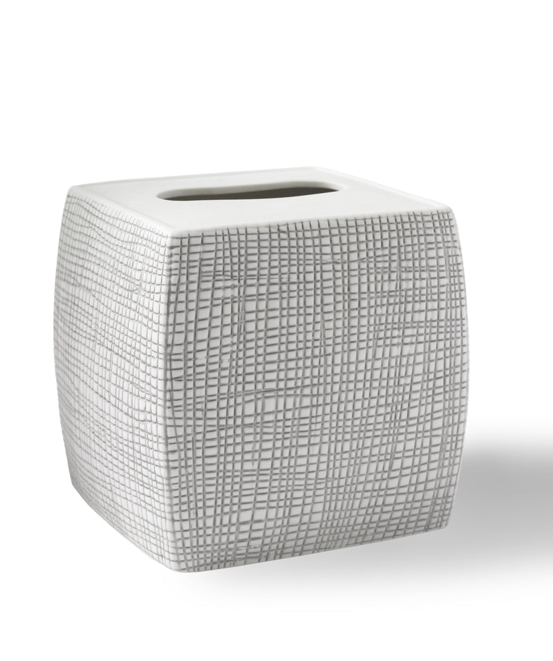 Kassatex Bathroom Accessories Tissue Holder / Porcelain WOVEN RAFFIA TISSUE HOLDER