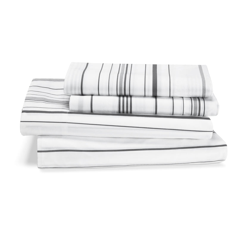 Kassatex Bedding Sheet Set / Queen/Full / Grey Venice Garment Washed Striped Bedding