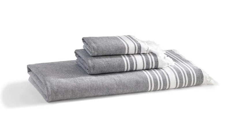 Kassatex FOUTA BATH TOWEL / Indigo Fouta Flat-Weave Turkish Cotton Towel