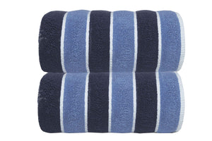 Leibona Guest Towel / Navy Blue Neutral | Striped Bath Towels
