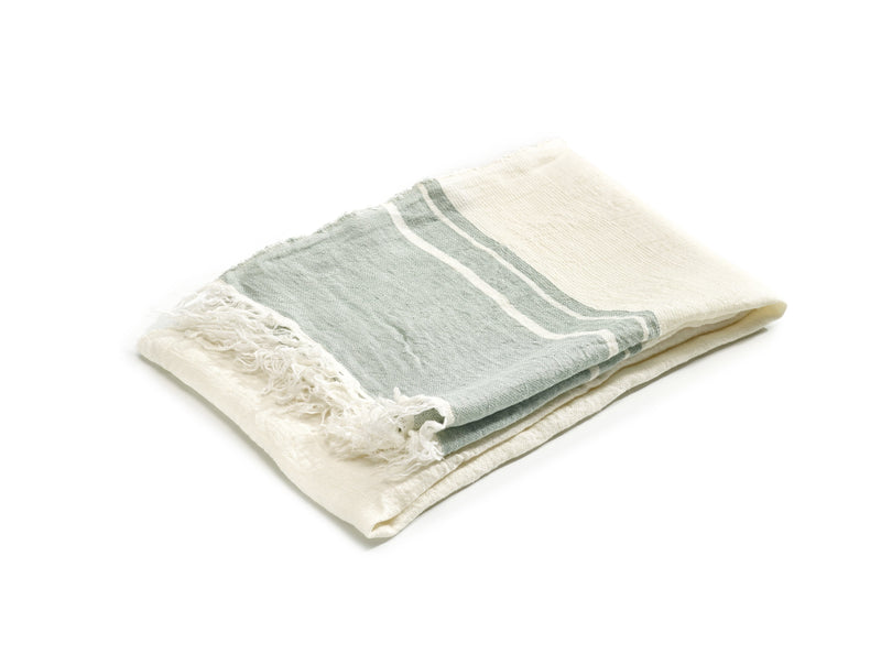 "Libeco Throws & Blankets 21.5x25.5"" / Sage Stripe BELGIAN SAGE STRIPE"