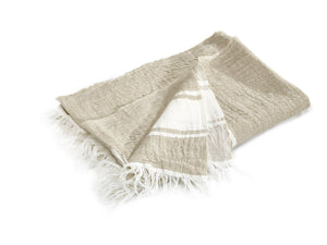 "Libeco Throws & Blankets 43x71"" / Flax Stripe BELGIAN FLAX STRIPE"