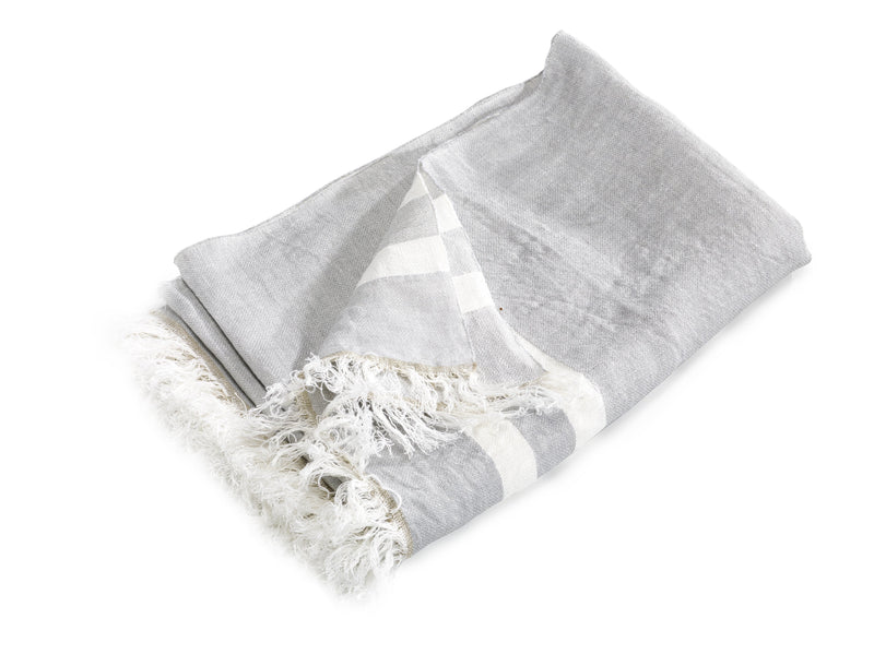 "Libeco Throws & Blankets 43x71"" / Gray Stripe BELGIAN FLAX STRIPE"