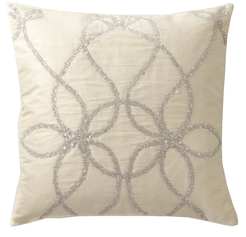 Lili Alessandra Decorative PIllows WHIMSICAL SQUARE IVORY PILLOW