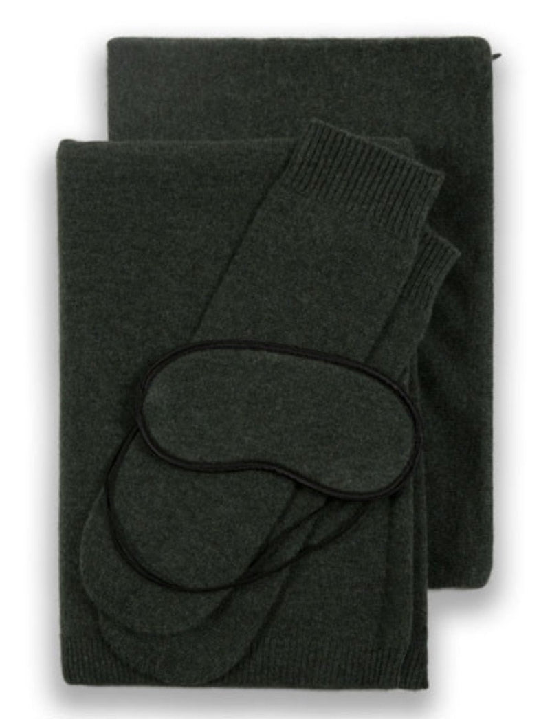 Sofia Cashmere Accessories PORTOFINO TRAVEL SET IN LODEN GREEN