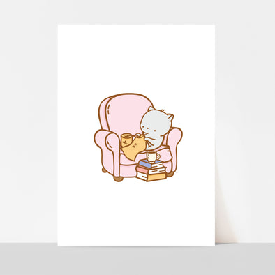 Clementine Armchair Knitting Art Print