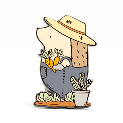Hedgehog Gardener Pin