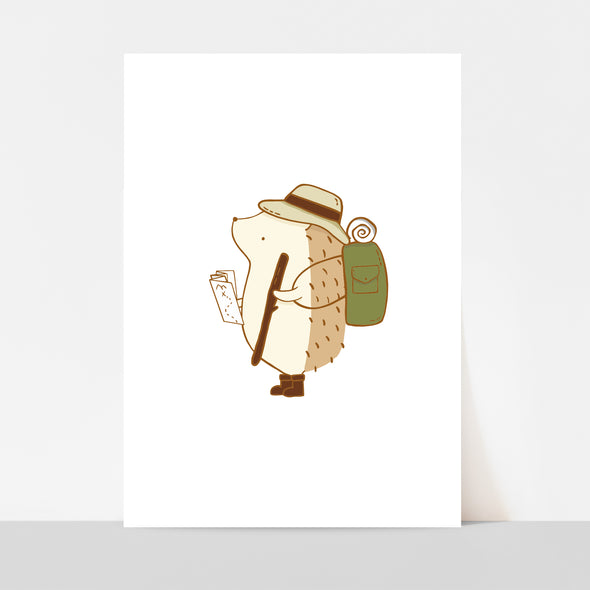 Hedgehog Hiking Art Print