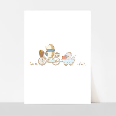 Hedgehog and Raccoon Biking Art Print