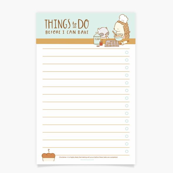 Things To Do Before I Can Bake Notepad