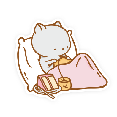 Clementine Knitting in Bed Vinyl Sticker