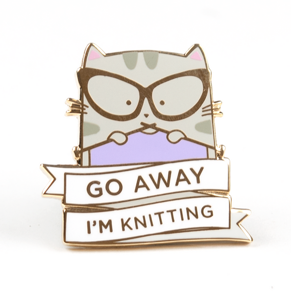 Go Away I'm Knitting Pin