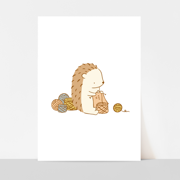 Henrietta Knitting Art Print