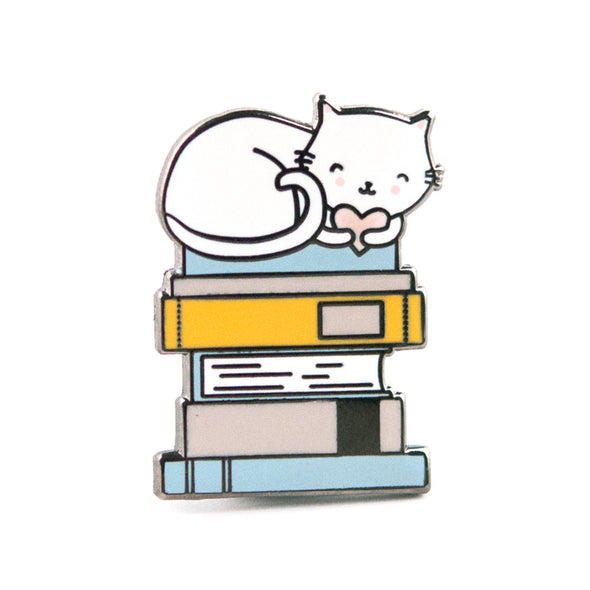 Cat and Books Pin