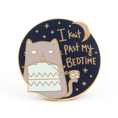 I Knit Past My Bedtime Cat Pin