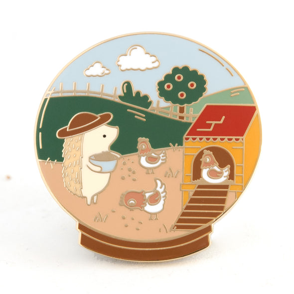 Little Worlds Chicken Farmer Enamel Pin