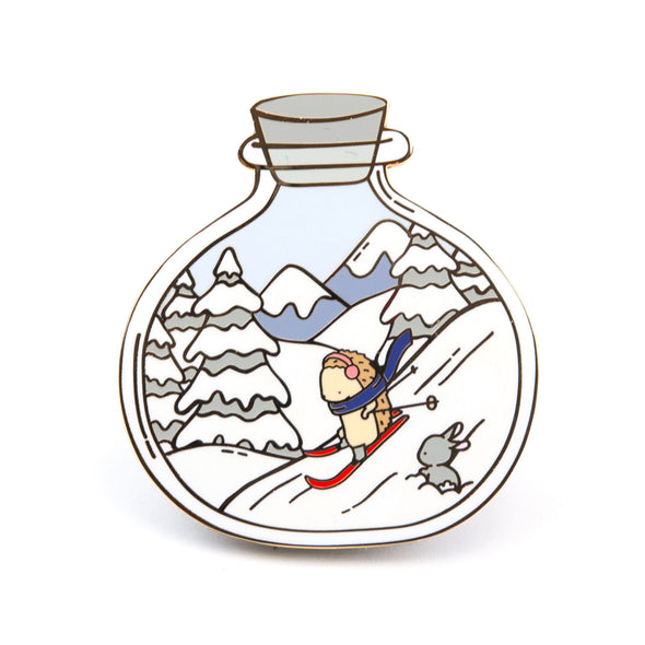 Little Worlds Skiing Pin