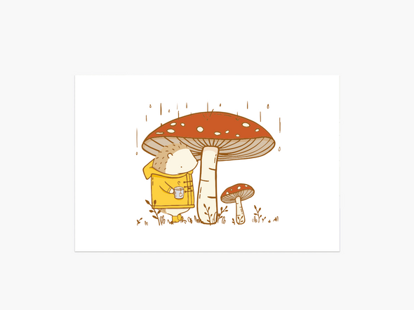 Mushrooms & Tea Postcard