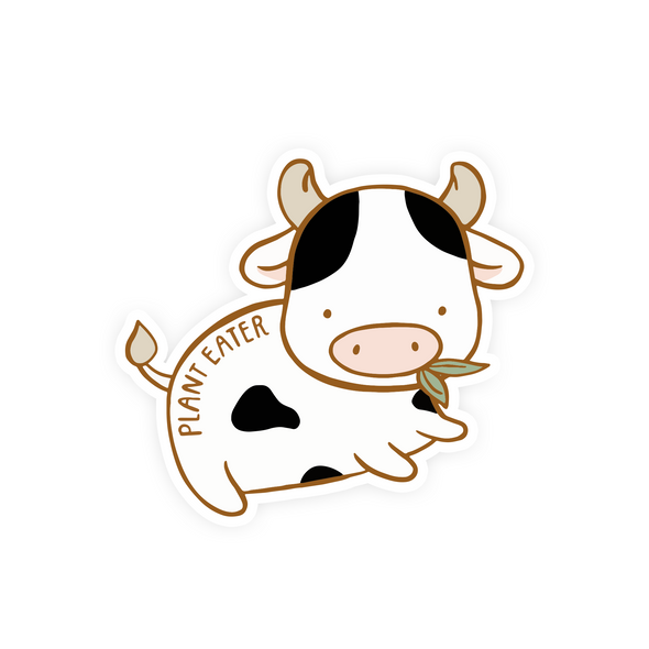 Plant Eater Cow Vinyl Sticker