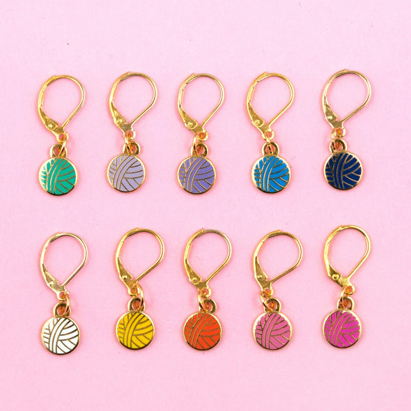 Rainbow Yarn Ball Stitch Marker Set