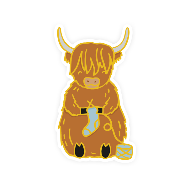 Sebastian the Scottish Highland Cow Vinyl Sticker