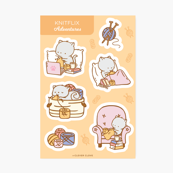 Knitflix Sticker Sheet