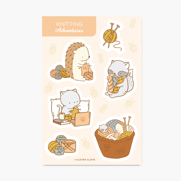 Knitting Sticker Sheet