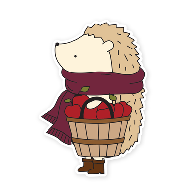 Henrietta the Hedgehog Apple Picking Vinyl Sticker