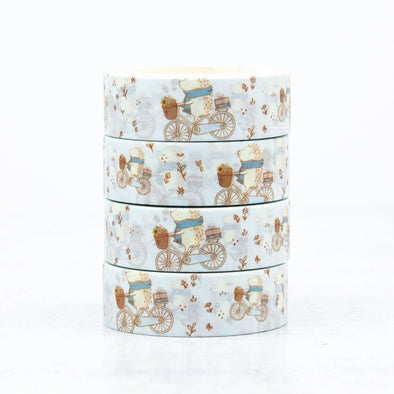 Hedgehog Biking Washi Tape