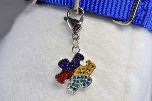 NEW! Autism Awareness Puzzle Rhinestone Collar Charm