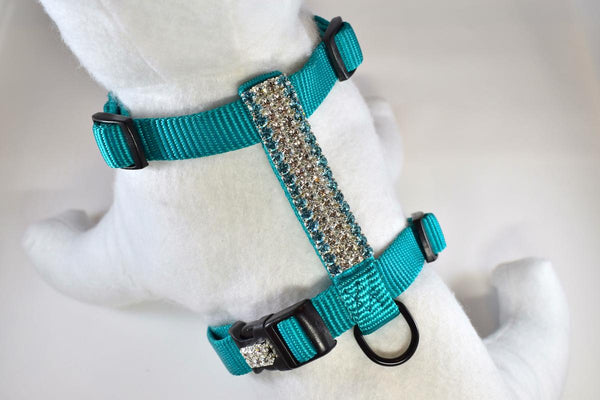 Bahama Blue Rhinestone Fully Adjustable Comfort Harness