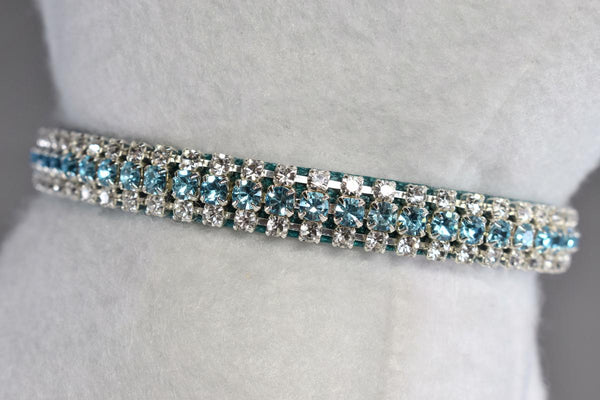 "Bahama Blue Petite Rhinestone Cat Safety Collar - 3/8"" Wide"