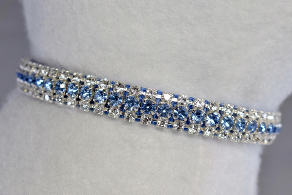 "Berry Blue Petite Rhinestone Collar - 3/8"" Wide"